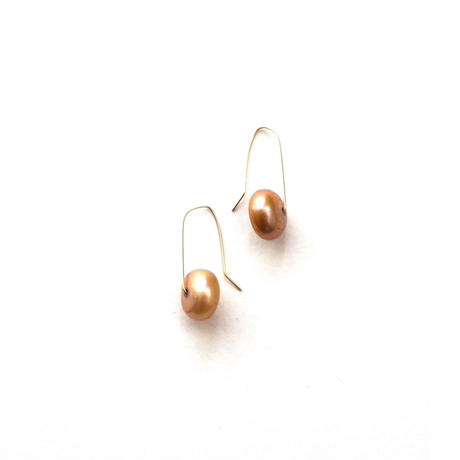 【TE001】 Gold Pearl Rondell Earrings 14KGF(淡水ゴールドパール ロンデル ピアス)