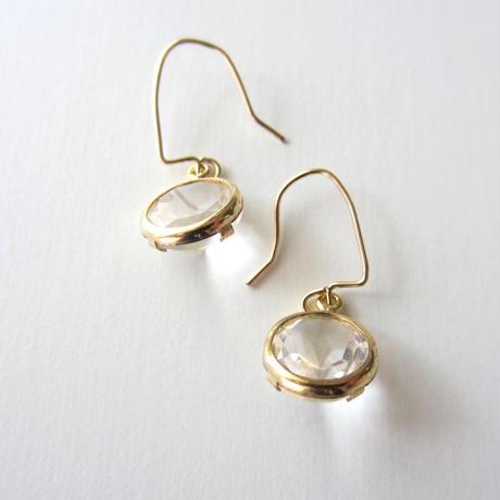 【UE096】 Crystal Gold Round Earring 14KGF(クリスタル ゴールドラウンド ピアス)