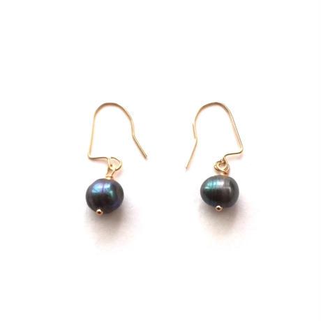 【TE005】 Black Pearl Earring 14KGF(黒真珠 ピアス)
