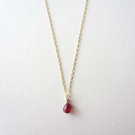 【UN060】 Ruby  Necklace 14KGF(ルビー  ネックレス )