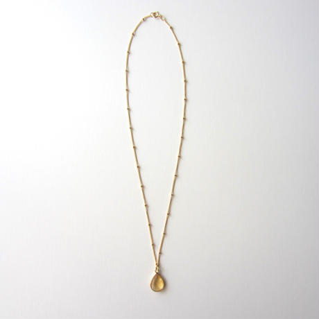 【UN063】 Citrine Gold Pear Shape Station Chain Necklace 18KGP(シトリンゴールドペアシェイプステーションチェーンネックレス)
