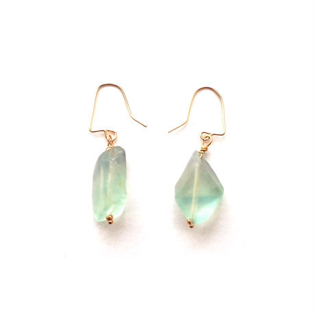 【TE006】Green Fluorite Earring 14KGF(グリーンフローライト ピアス)