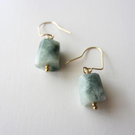 【UE089】 Jadeite  Earring 14KGF(ジェダイト  ピアス )
