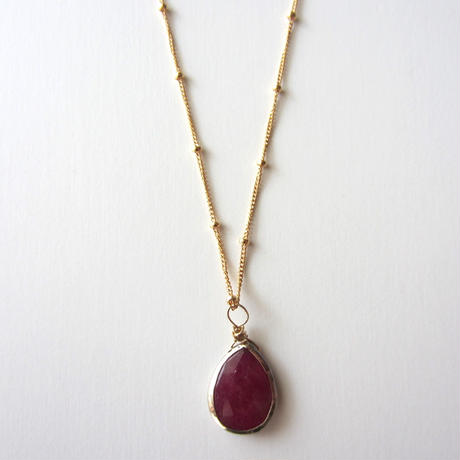 【UN064】 Ruby Gold Pear Shape Station Chain Necklace 14KGF/18KGP(ルビーゴールドペアシェイプ ステーションチェーンネックレス )