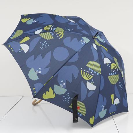 ミクニ 392 サンキューニ 傘 USED美品 ガーデン ネイビー テキスタイル グラス骨 北欧風 草花 木製手元 60cm KR A5437