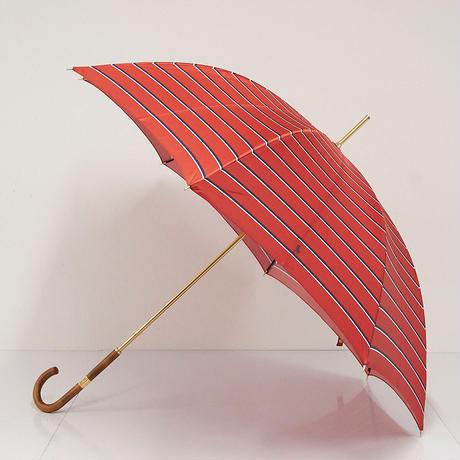 Polo Ralph Lauren ラルフローレン 高級傘 USED美品 ボーダー ポロ レッド 木製手元 60cm S S5446