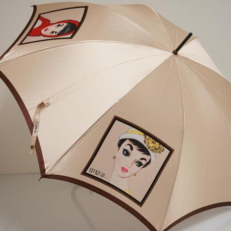 中原淳一 アート傘 USED美品 レディ 総グラスファイバー骨 昭和 レトロ 60cm 中古 ブランド S3501