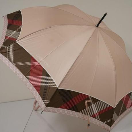 A0458 GHERARDINI×新潟オーロラ 高級傘 USED品 日本製 チェック×モノグラム 60cm 中古 ブランド