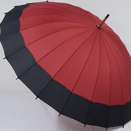 A6383 24本骨高級傘 USED超美品 ボルドー×黒 和傘 レトロ モダン 60㎝ 中古ブランド