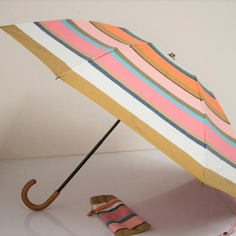 EPICE エピス 晴雨兼用折日傘 USED超美品 カラフルボーダー 木製手元 遮光 UV 折りたたみ傘 50cm 中古 FS6616