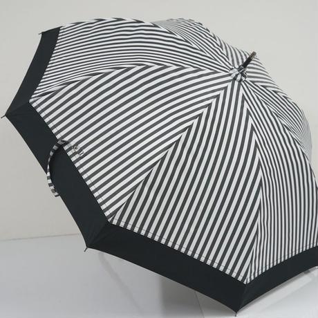 サンバリア100 完全遮光日傘 USED極美品 Mサイズ 白黒ストライプ コンビ UV 遮熱 55cm  中古 ブランド S2513