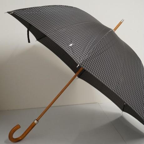 Polo Ralph Lauren ポロ ラルフローレン 紳士傘 USED美品 格子柄 細巻 ポロ刺繍 グラス骨 大判 65cm 中古 ブランド S3767