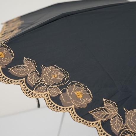Borsalino ボルサリーノ 晴雨兼用折日傘 USED品 サマーシールド UV フラワースカラップ刺繍 遮熱 遮光 折りたたみ傘 50cm 中古 ブランド FA6053