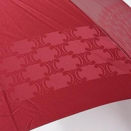 S0544 CELINE セリーヌ 高級傘 USED超美品 マカダム 天然木手元 絶版 60cm 中古 ブランド