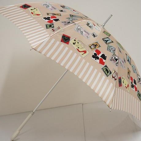 Kanematsu 銀座かねまつ 傘 USED美品 スタンプ 切手モチーフ カーボン骨 60cm 中古 ブランド S3546