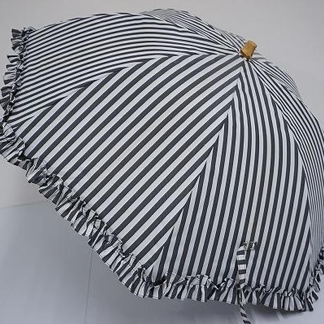 S3557 サンバリア100 完全遮光日傘 USED美品 ストライプフリル ショート 47cm UV 遮熱 中古ブランド