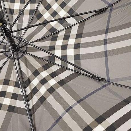 S0715 BURBERRY バーバリー 高級紳士傘 USED超美品 グレーチェック 大判 65cm 中古 ブランド