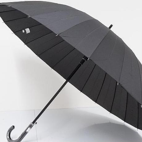A0728 24本骨高級紳士傘 USED極美品 ジャンプ グラス骨 大判 65cm 中古