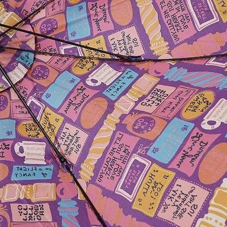 S0038 ANNA SUI アナスイ パゴダ傘 USED超美品 グラフィカル メッセージ 58cm 中古 ブランド