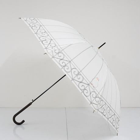 ミクニ 傘 USED美品 ホワイト 文鳥 鳥かご 鍵 刺繍 グラス骨 ジャンプ 文鳥グッズ 60cm  S A5431