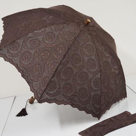 FS6054 高級折りたたみ日傘 USED超美品 メッシュ リーフ レース 刺繍 桜木手元 純パラソル 50cm 中古 ブランド