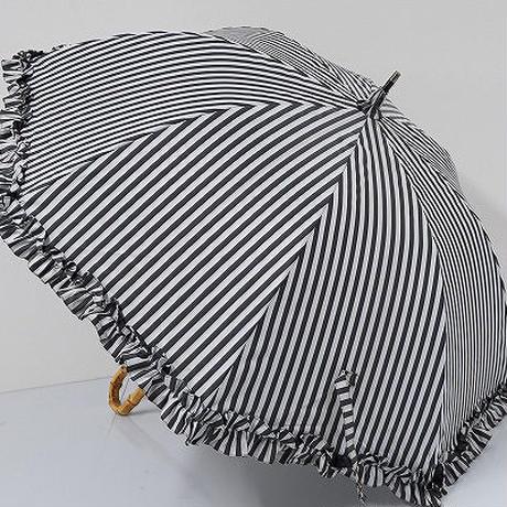 S0467 サンバリア100 完全遮光日傘 USED美品 ミドルフリル白黒ストライプ UV 55cm 中古 ブランド