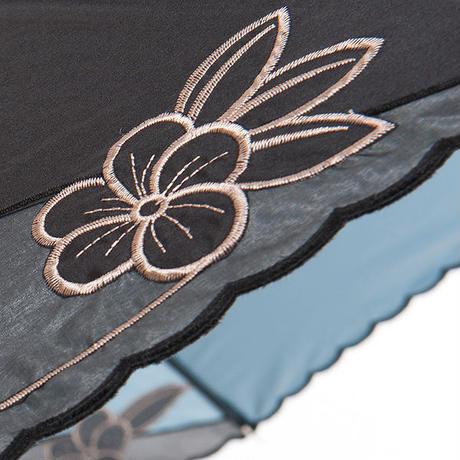 花刺繍の傘(ブルー) 50cm/長傘 晴雨兼用 [H91228]