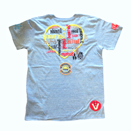 雑誌Safari掲載 birdog  手刺繍  ハート  Tシャツ  BLUE