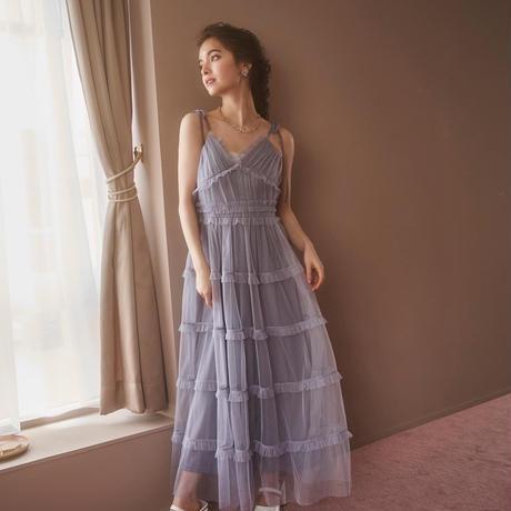 romantic tulle camisole  one-piece (blue grey)