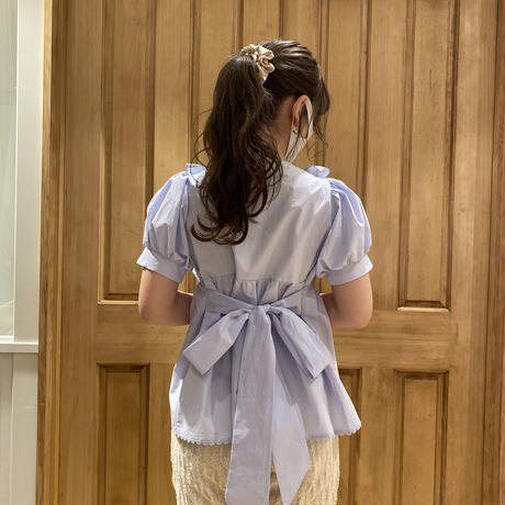 back ribbon tunic blouse(blue)