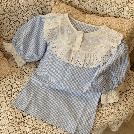 retro gingham check tops(blue)