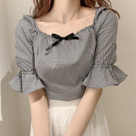 girly ribbon gingham check one-piece