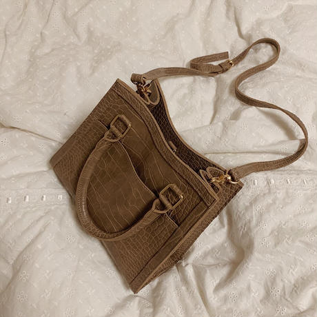 2 way croco leather bag