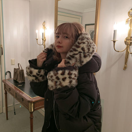 fur short down jacket (leopard black)
