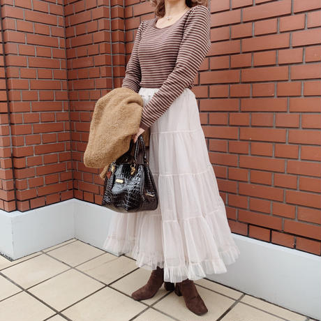 border knit tops (brown )