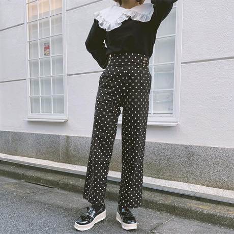 retro dot high-waist pants