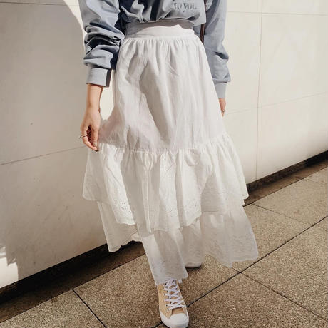 frill cotton  ribbon skirt