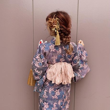 embroidered flower Yukata