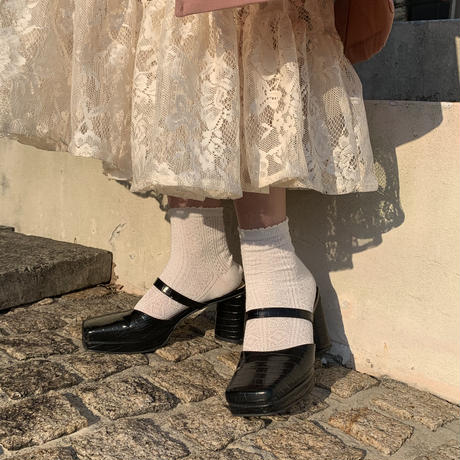 croco leather sandals (Black)