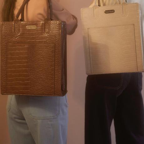 croco leather A4 bag