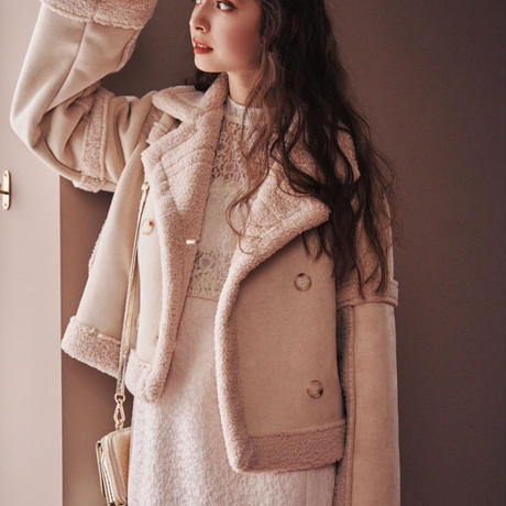 mouton boa short jacket(ivory)