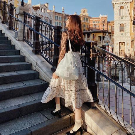 dot Paris tiered skirt(white)
