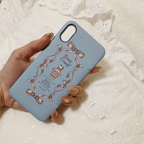 Treat ribbon mirror IC case(Blue)