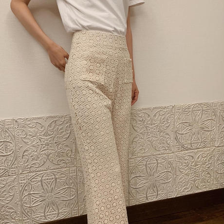 flower lace flare  pants