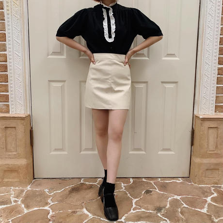 leather mini skirt (ivory)