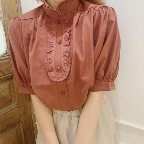 classical puff blouse(wine red)