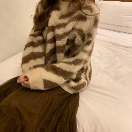 zebra fluffy knit