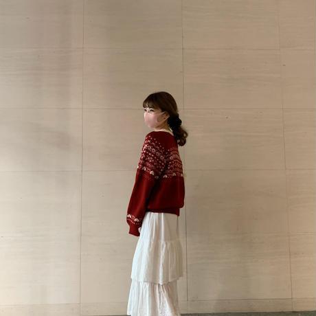 frill cotton  ribbon skirt
