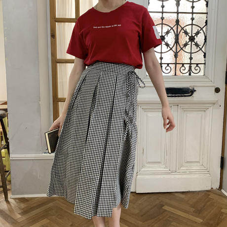 gingham check winding pleats skirt