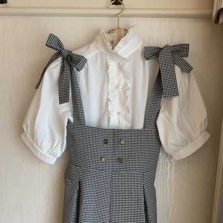 gingham check ribbon rompers